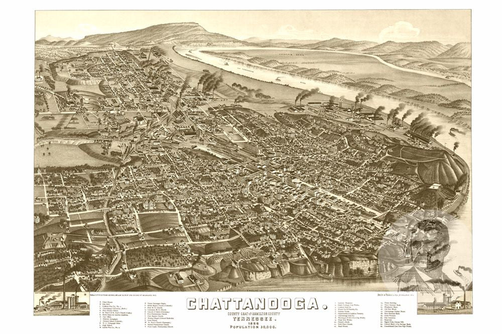 Chattanooga, TN Historical Map - 1886 - Ted's Vintage Maps