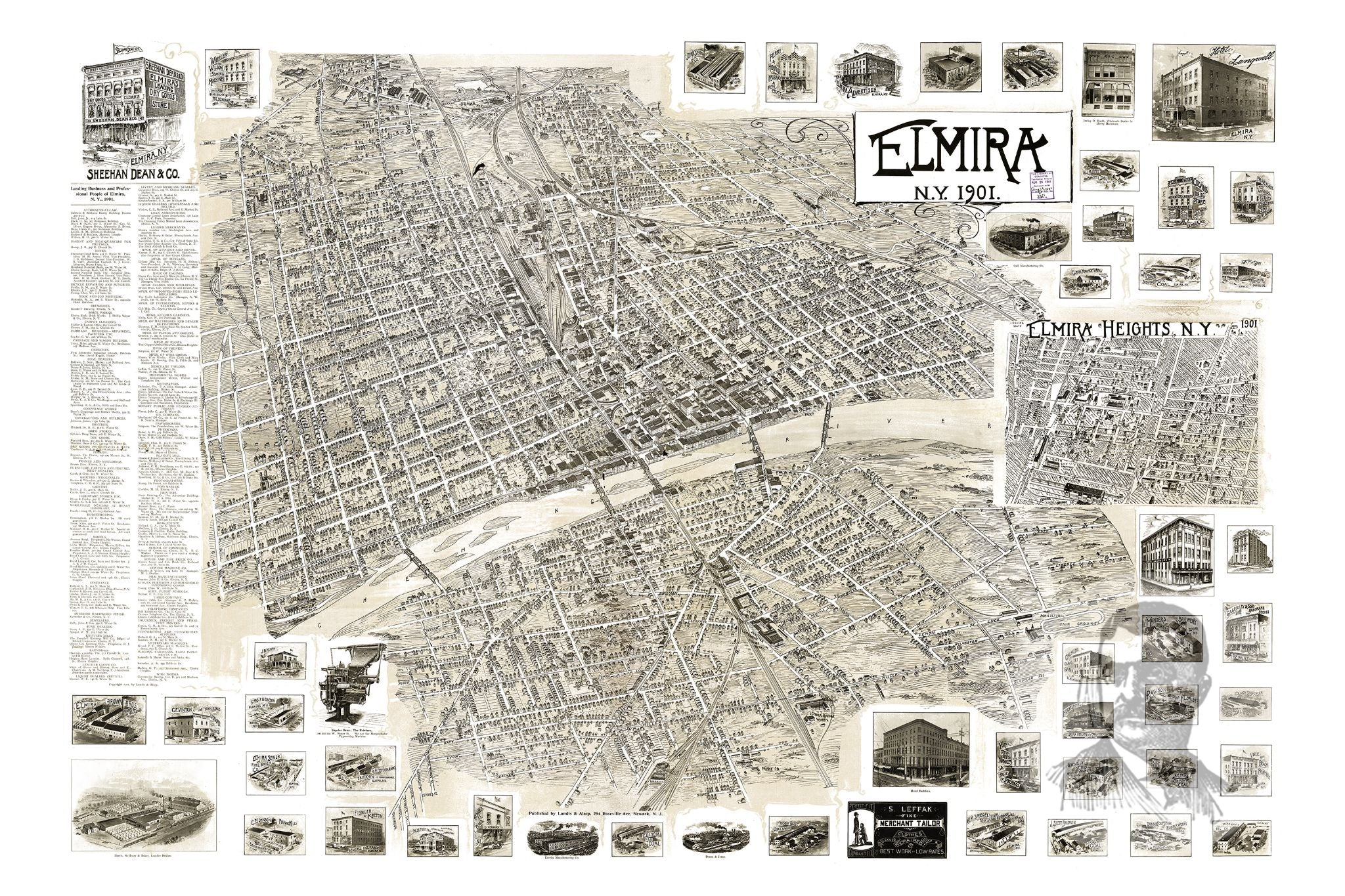 Elmira, NY Historical Map - 1901