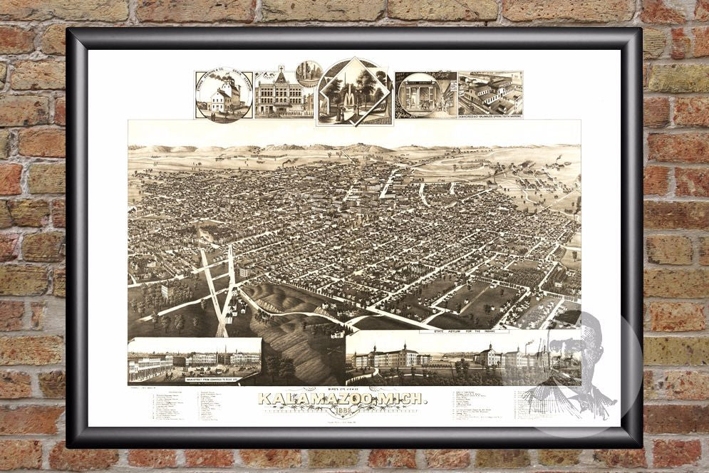 Kalamazoo, MI Historical Map - 1883 - Ted's Vintage Maps