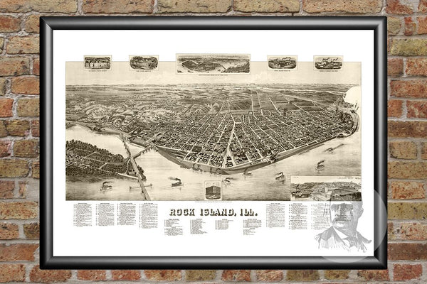 Rock Island, IL Historical Map - 1889
