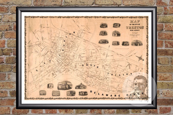 Trenton, NJ Historical Map - 1849