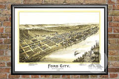 Ford City, PA Historical Map - 1896