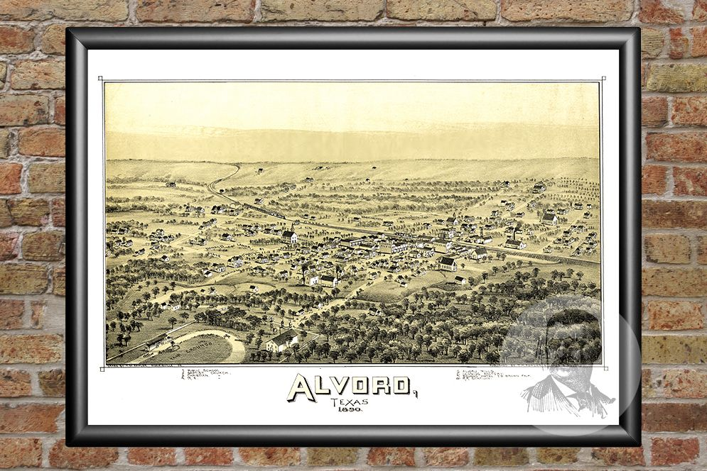Alvord, TX Historical Map - 1890