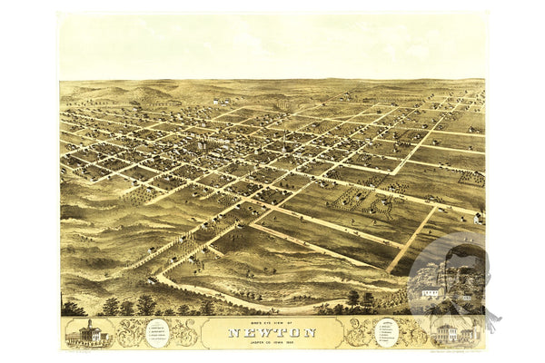 Newton, IA Historical Map - 1868
