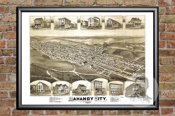 Mahanoy City, PA Historical Map - 1889