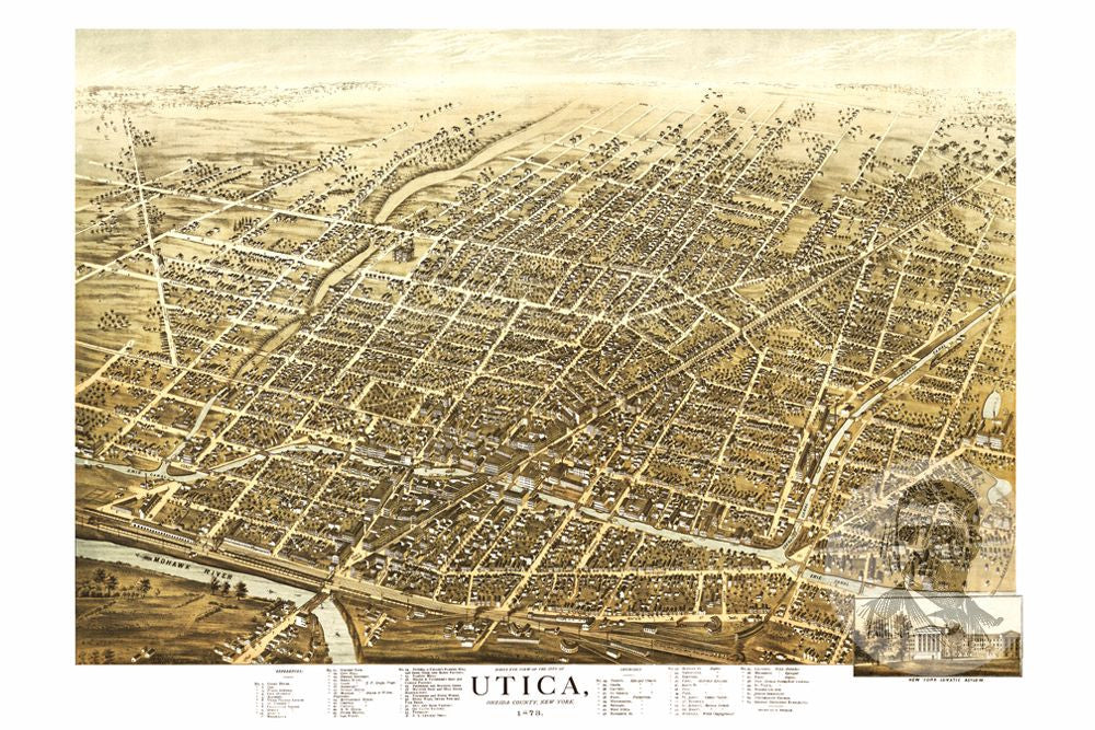 Utica Ny Historical Map 1873 Ted S Vintage Art