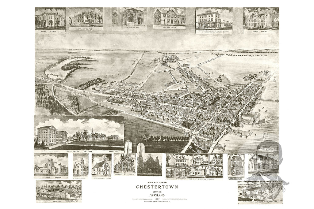 Chestertown, MD Historical Map - 1907 - Ted's Vintage Maps