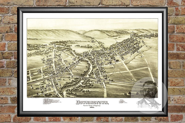 Downingtown, PA Historical Map - 1893