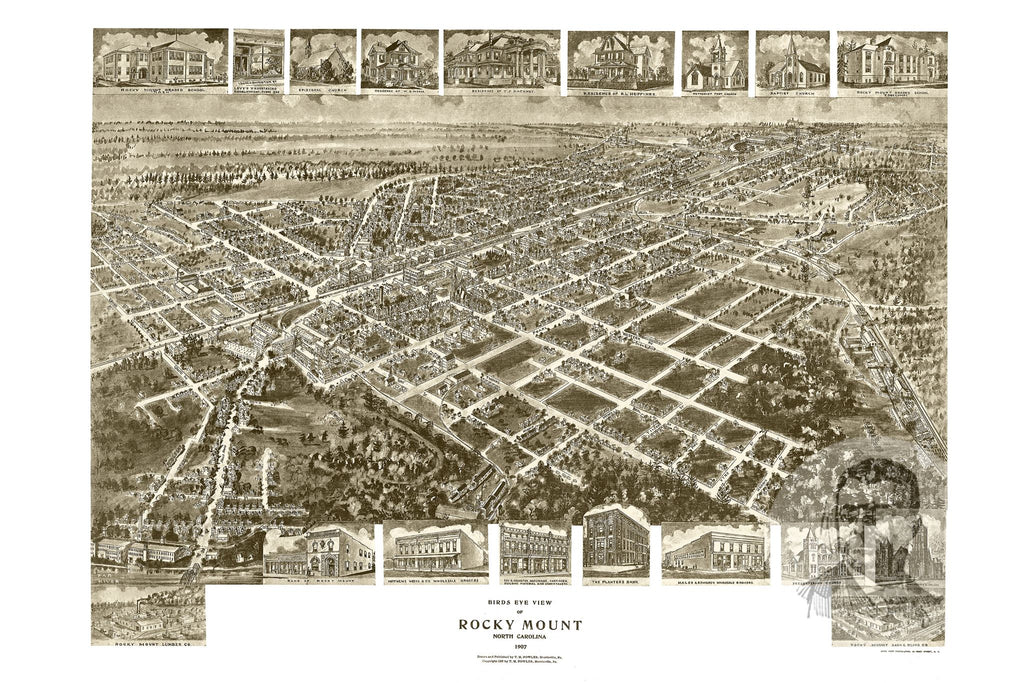 Rocky Mount, NC Historical Map - 1907