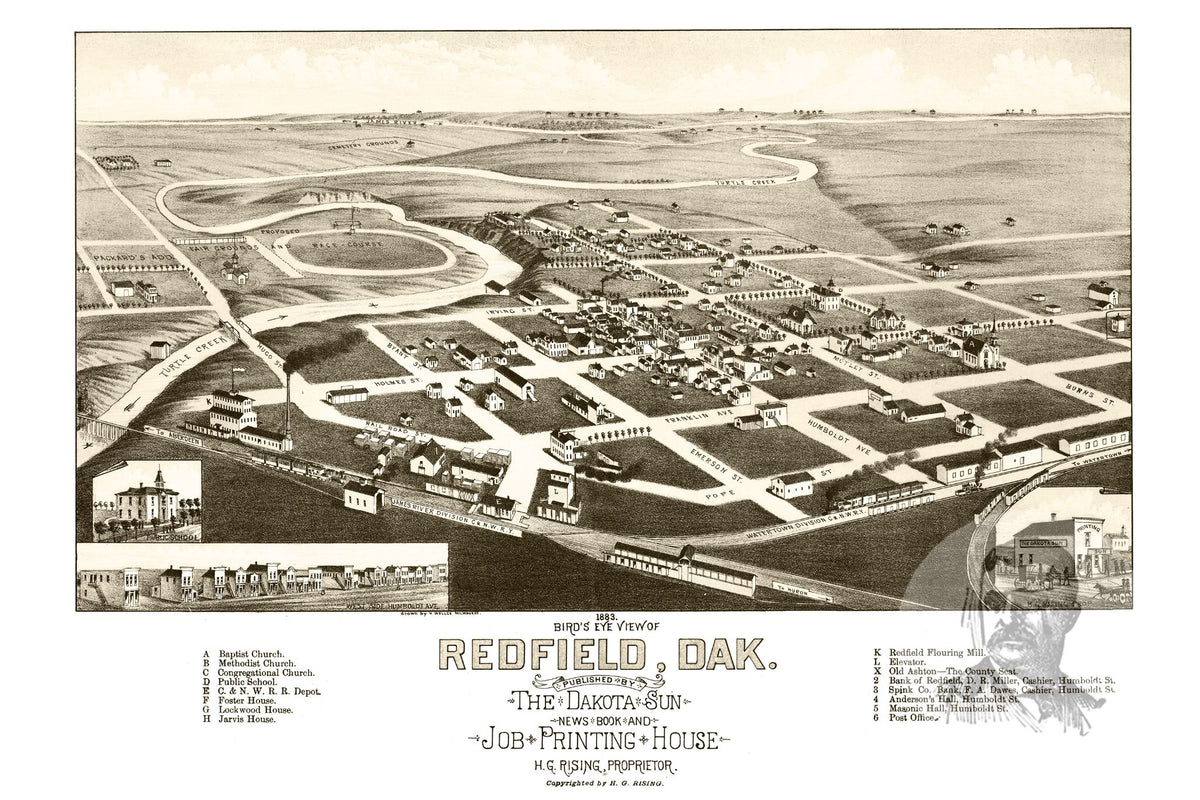 Redfield Sd Historical Map 1883 Ted S Vintage Art