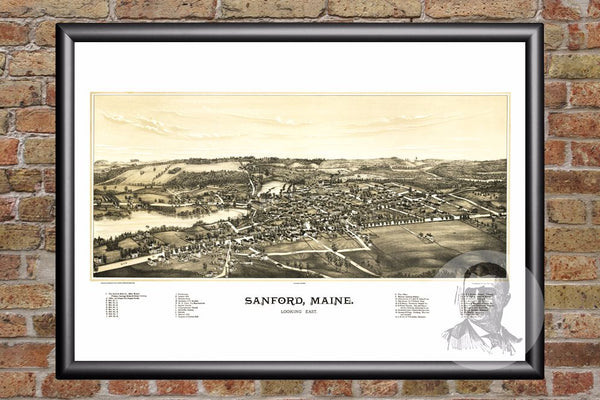 Sanford, ME Historical Map - 1889