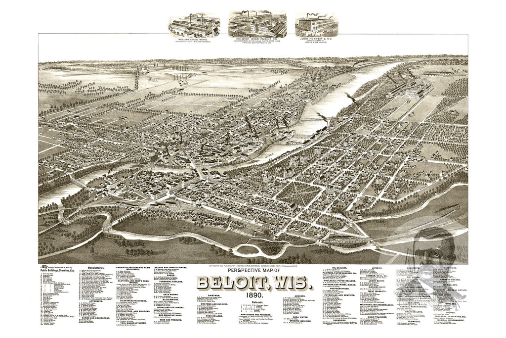 Beloit, WI Historical Map - 1890 - Ted's Vintage Maps