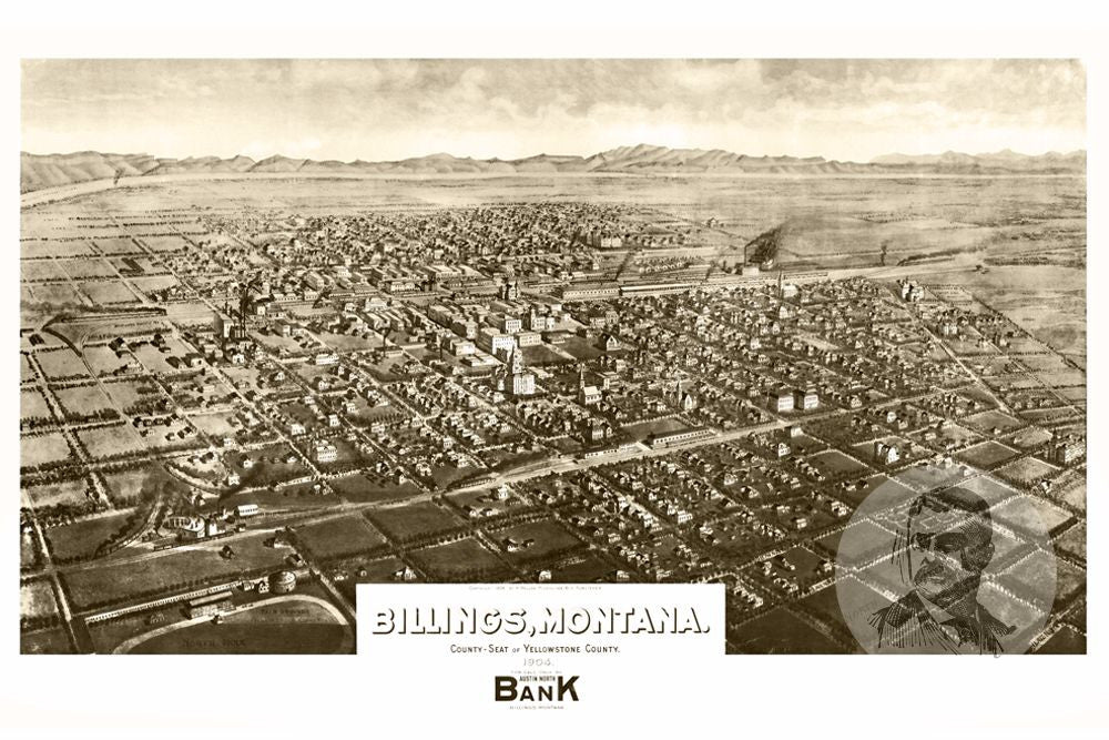 Billings MT Historical Map 1904 Teds Vintage Art