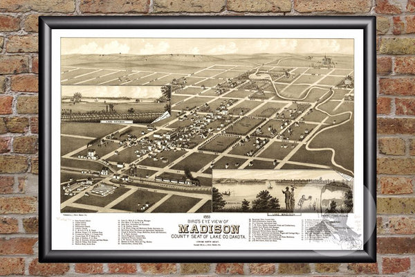 Madison, SD Historical Map - 1883