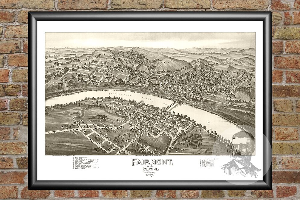 Fairmont & Palatine, WV Historical Map - 1897 - Ted's Vintage Maps