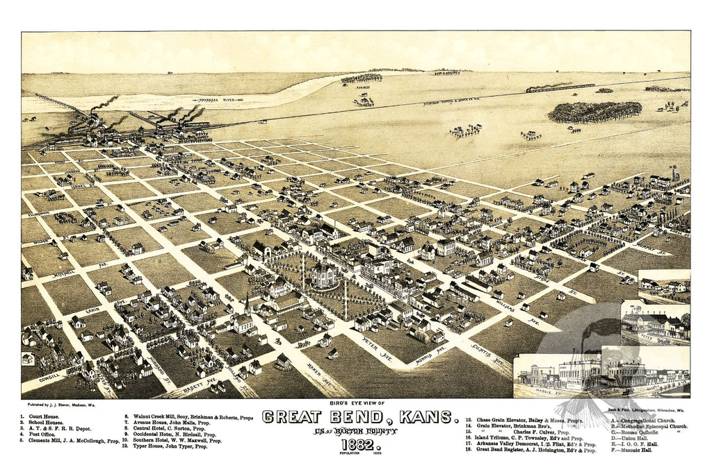 Great Bend, KS Historical Map - 1882 - Ted's Vintage Maps