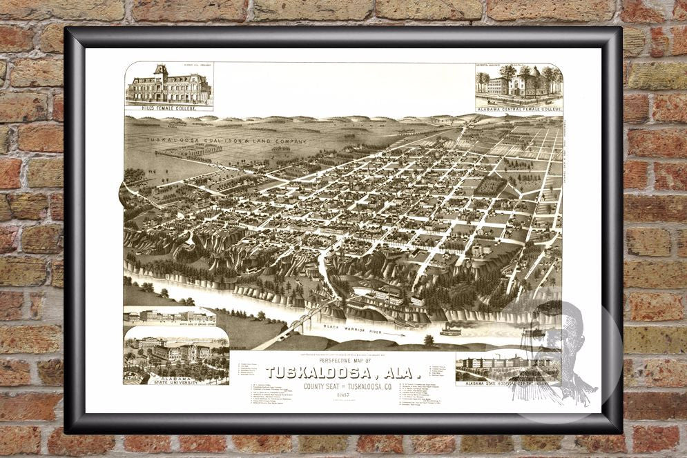 Tuskaloosa, AL Historical Map - 1887
