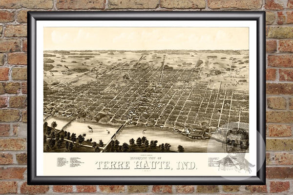 Terre Haute, IN Historical Map - 1880