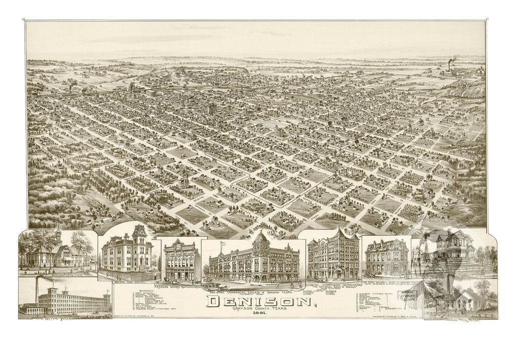 Denison, TX Historical Map - 1891 - Ted's Vintage Maps