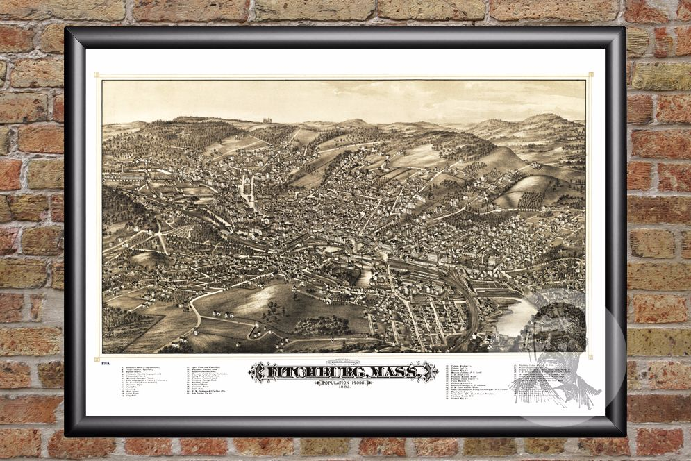 Fitchburg, MA Historical Map - 1882 - Ted's Vintage Maps