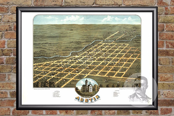 Vintage Map of Austin, MN from 1870