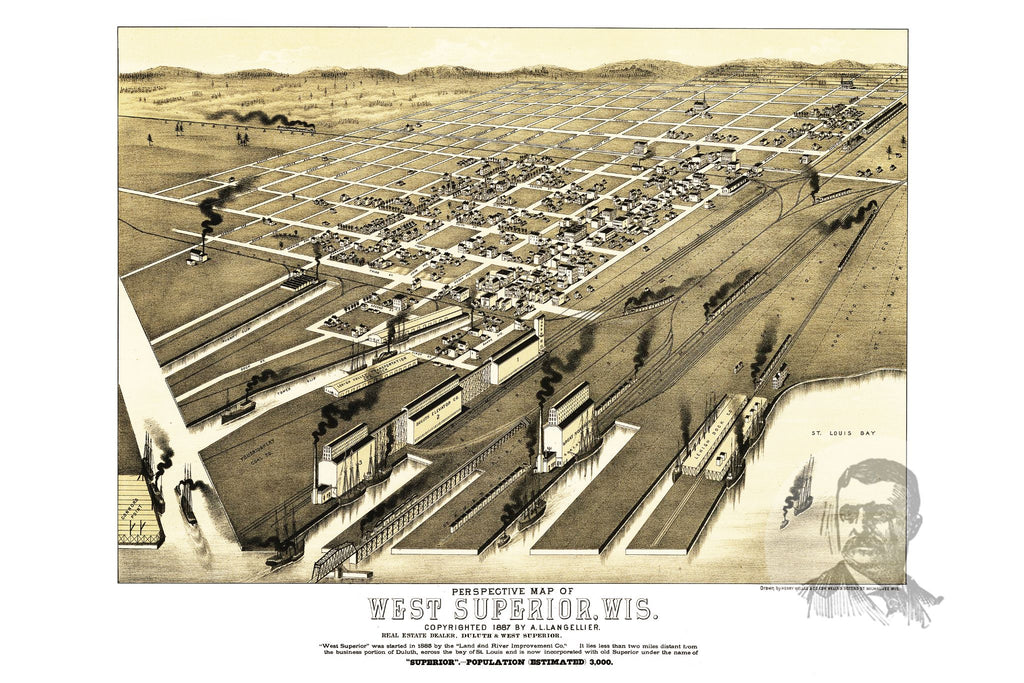 West Superior, WI Historical Map - 1887