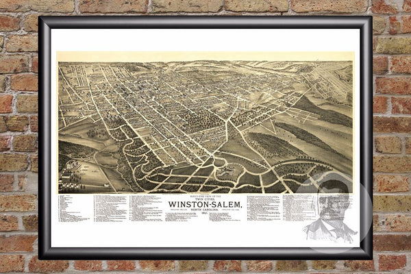 Winston-Salem, NC Historical Map - 1891