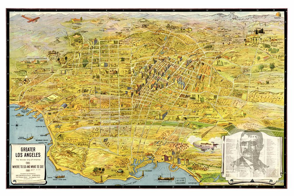 Los Angeles CA Historical Map 1932 Teds Vintage Art