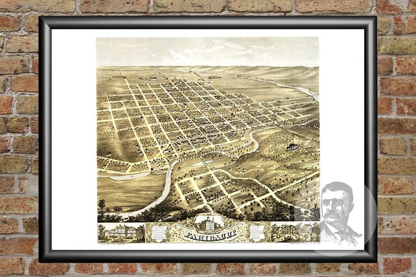 Vintage Map of Faribault, MN from 1869