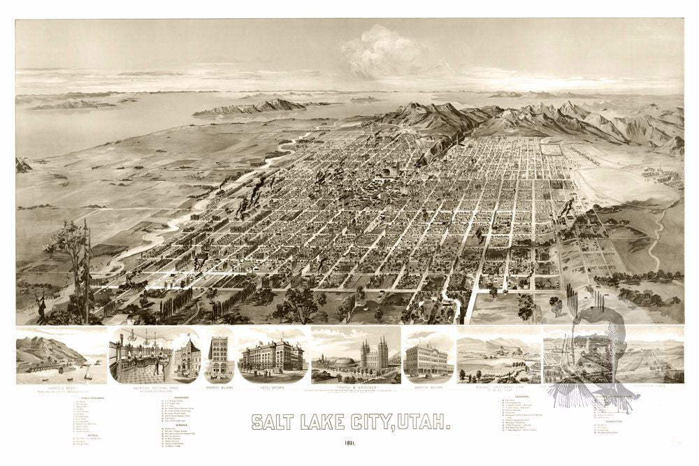 Salt Lake City, UT Historical Map - 1891
