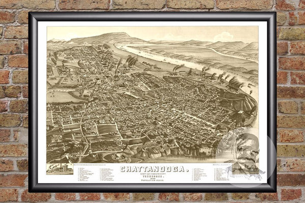 Chattanooga, TN Historical Map - 1886
