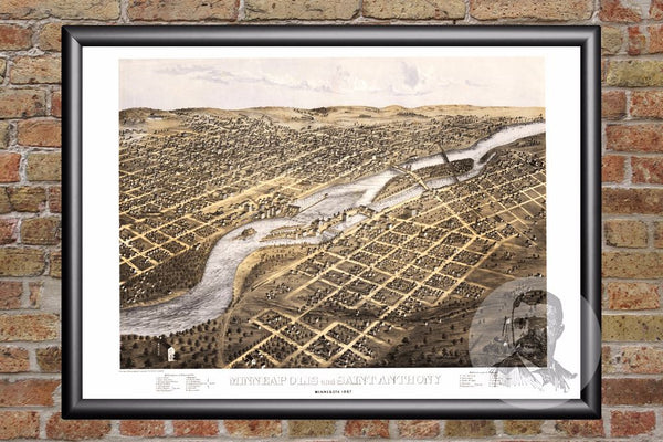 Vintage Map of Minneapolis, MN from 1867 - 24