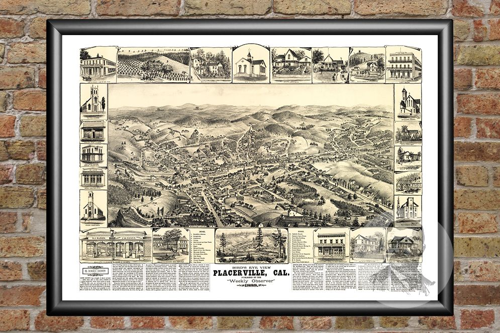 Placerville, CA Historical Map - 1888
