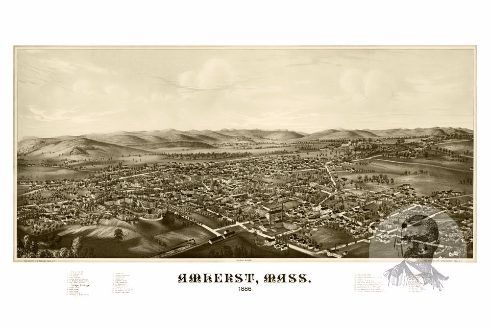 Amherst, MA Historical Map - 1886 - Ted's Vintage Maps