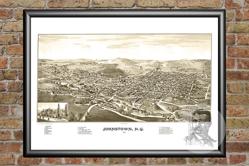 Johnstown, NY Historical Map - 1888 - Ted's Vintage Maps