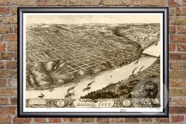 Kansas City, MO Historical Map - 1869