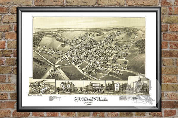 Minersville, PA Historical Map - 1889