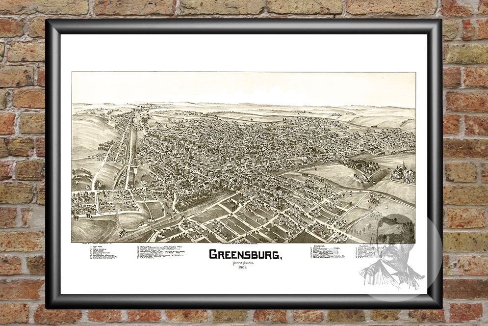 Greensburg, PA Historical Map - 1901 - Ted's Vintage Maps