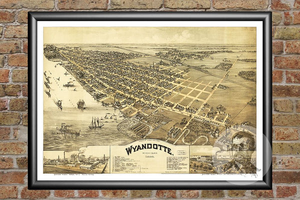 Wyandotte, MI Historical Map - 1896