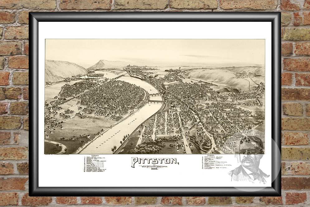 Pittston & West Pittston, PA Historical Map - 1892