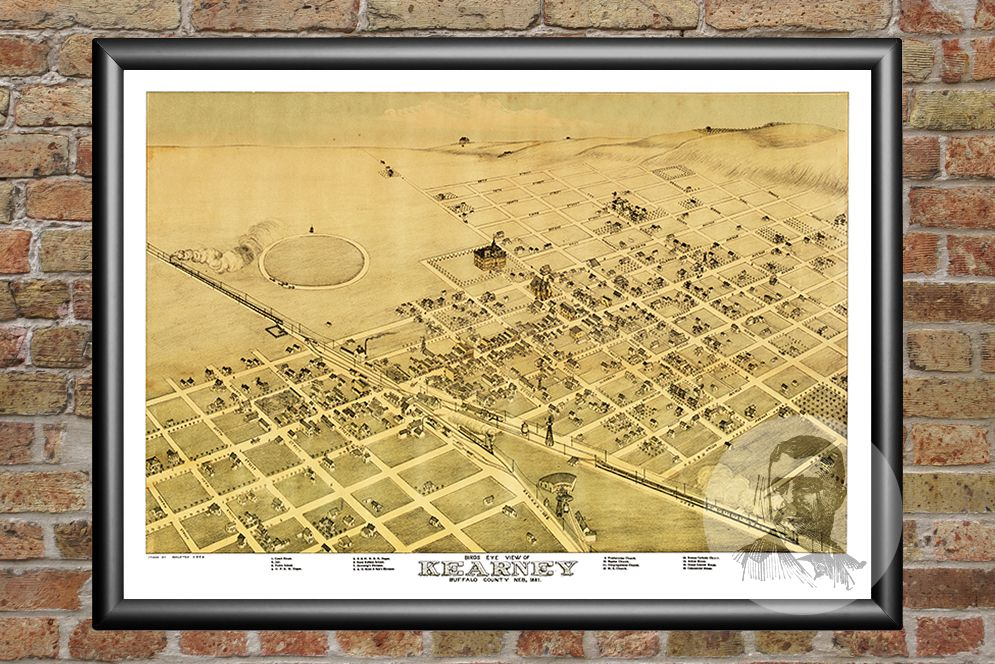 Kearney NE Historical Map 1881 Teds Vintage Art