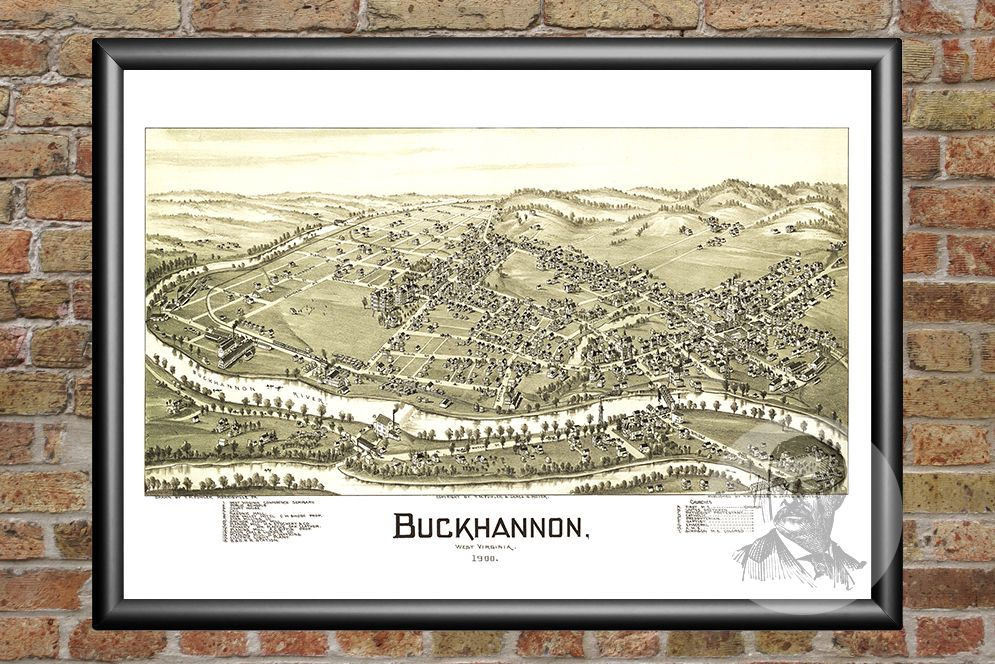 Buckhannon, WV Historical Map - 1900