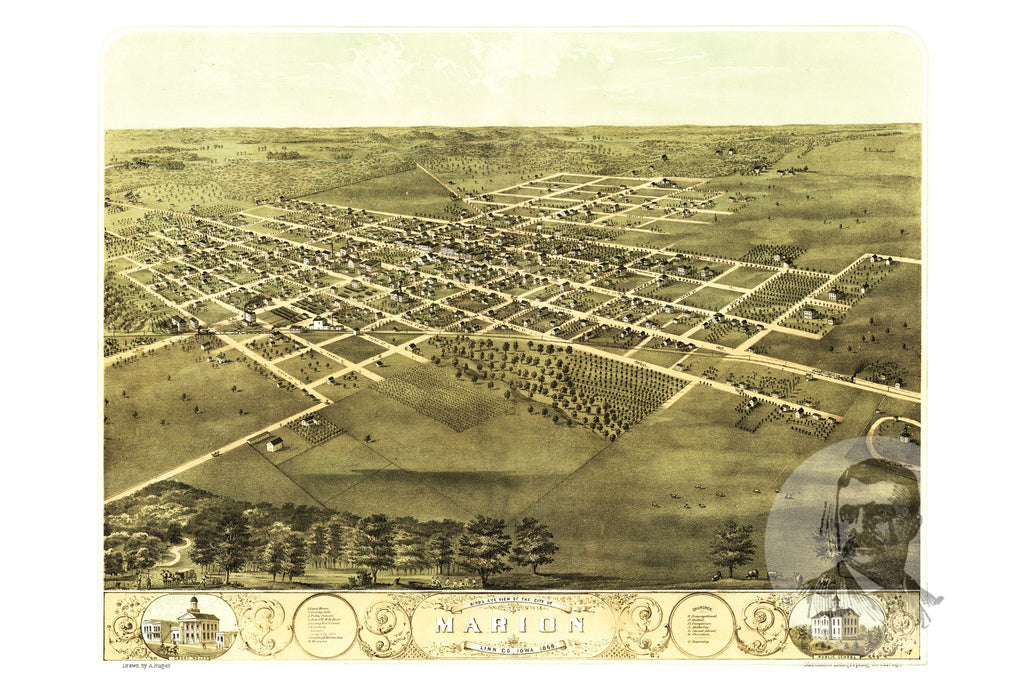 Marion, IA Historical Map - 1868