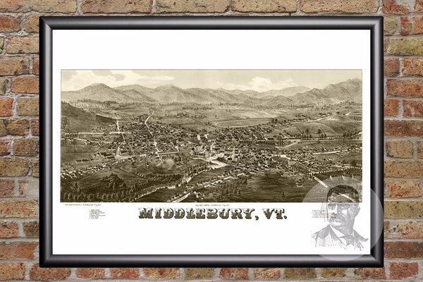 Middlebury, VT Historical Map - 1886