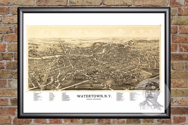 Watertown, NY Historical Map - 1891