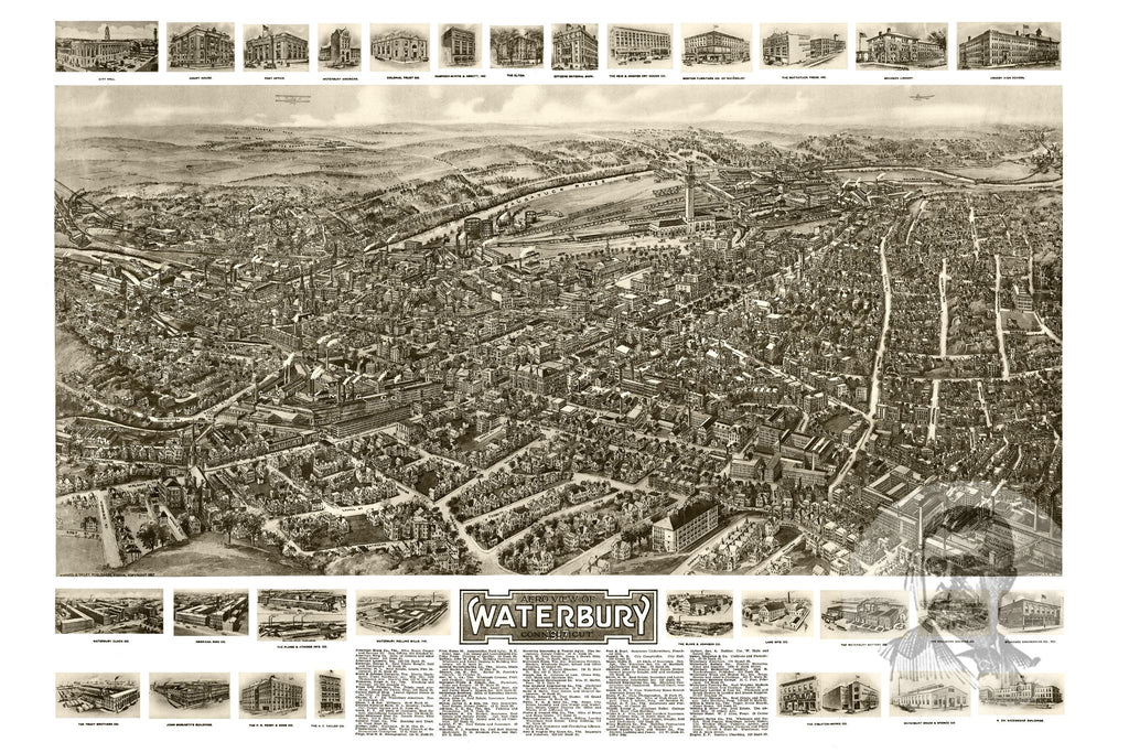 Waterbury, CT Historical Map - 1917