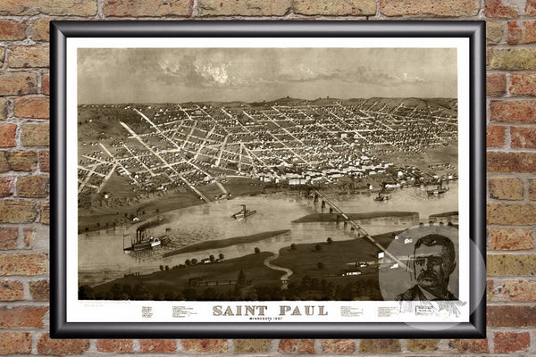 St. Paul, MN Historical Map - 1867