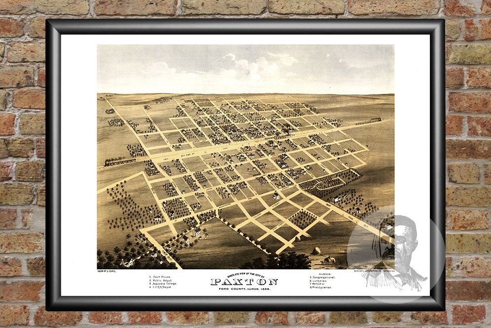 Paxton, IL Historical Map - 1869