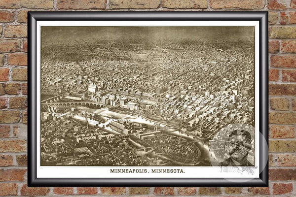 Minneapolis, MN Historical Map - 1885