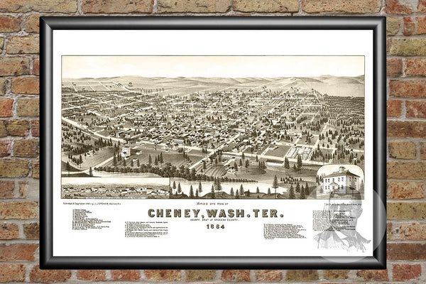Cheney, WA Historical Map - 1884